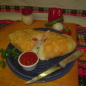 Seafood Calzone (you can put anything you want inside...well, any pizza toppings, that is)